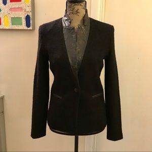 ✨EUC Line Wool Boucle and Lamb Leather Blazer